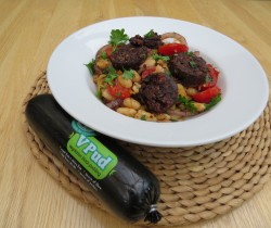 Vegetarian Black Pudding Cannelini Beans