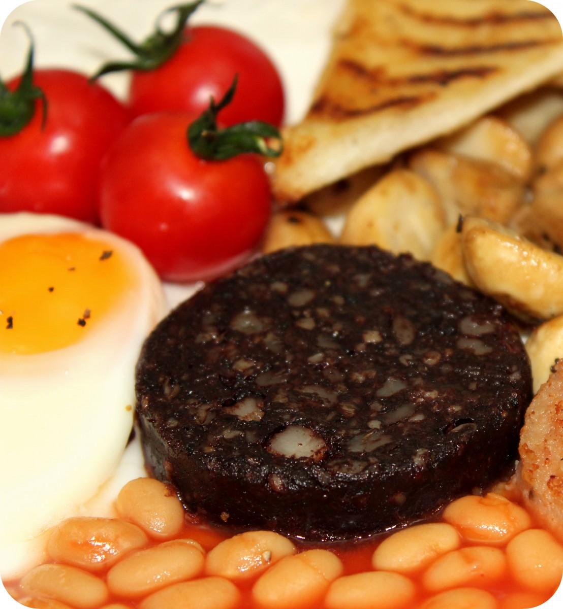 Black Pudding Slice on a full English breakfast